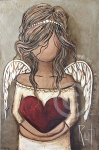 angel holding heart